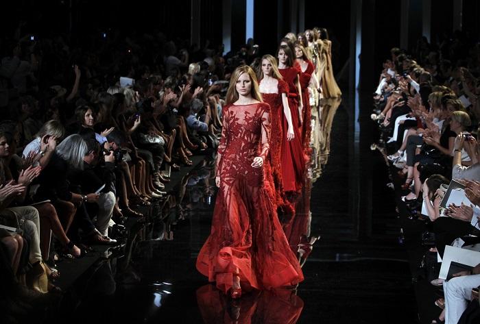 crimson dress at fashion week 2